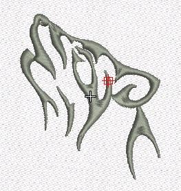 diseño de bordado lobo delineado