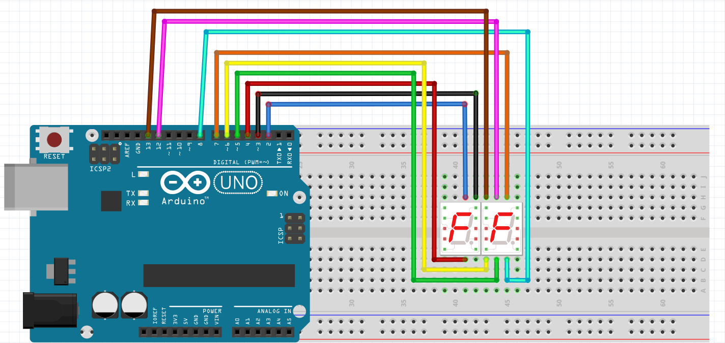 arduino uno and 7 segment wiring [ 1424 x 675 Pixel ]