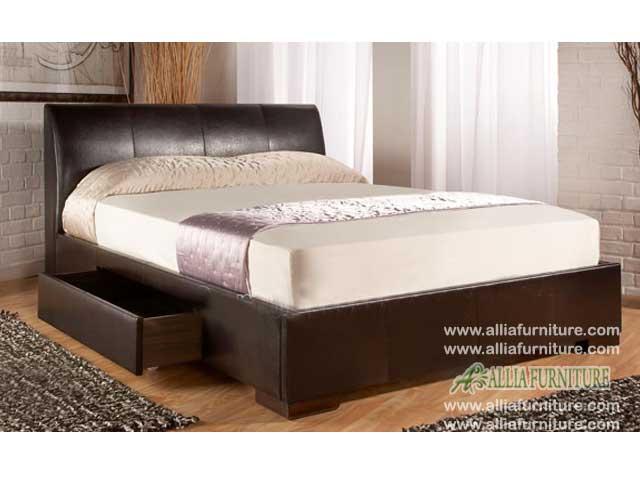tempat tidur laci minimalis lapis kulit hamburg