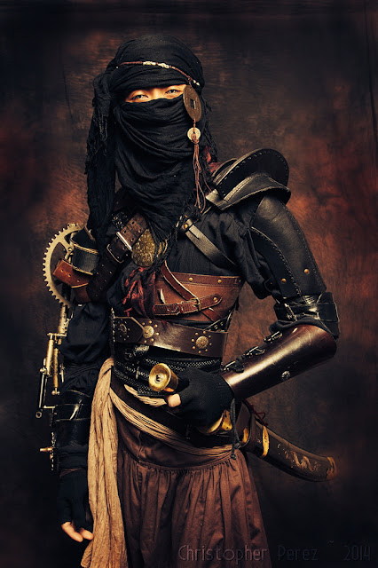 Steampunk Ninja, (japanese steampunk/Far Eastern Steampunk) a men's steampunk costume with swords, mask/veil, leather samurai armor, etc.