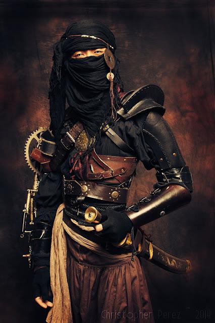 Steampunk Ninja, (japanese steampunk/Far Eastern Steampunk) a men's steampunk costume with swords, mask/veil, leather samurai armor, etc.