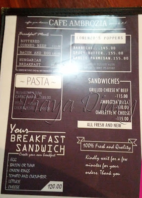 Cafe Ambrosia Coffee Shop Menu