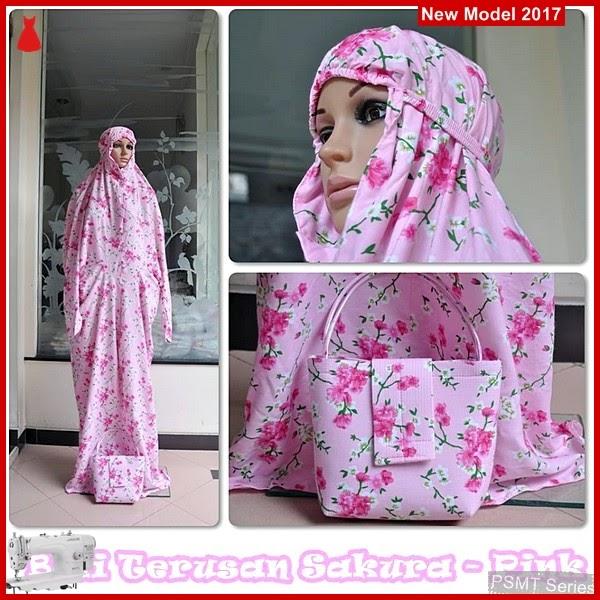 PSMT154A Mukena Cotton Rayon Terusan Polkadot Pink