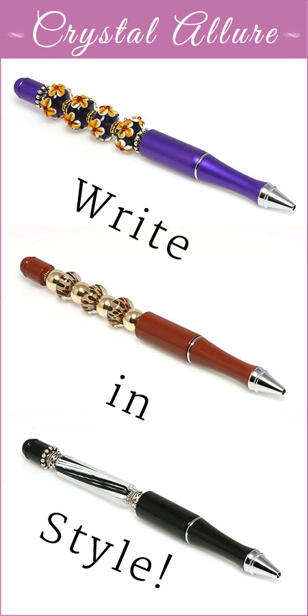 Write in Style with Crystal Allure Elegant Lampwork Bead Pens!