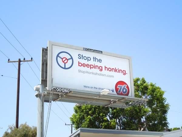 Stop beeping honking 76 billboard