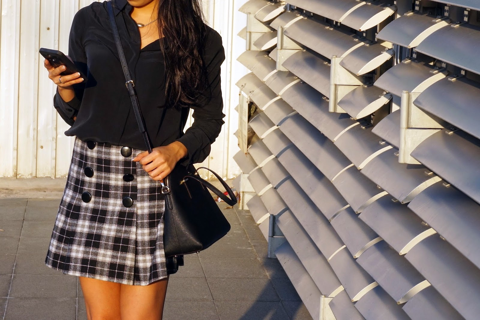 Grana black silk shirt Hong Kong school girl skirt heels photography picture photo image