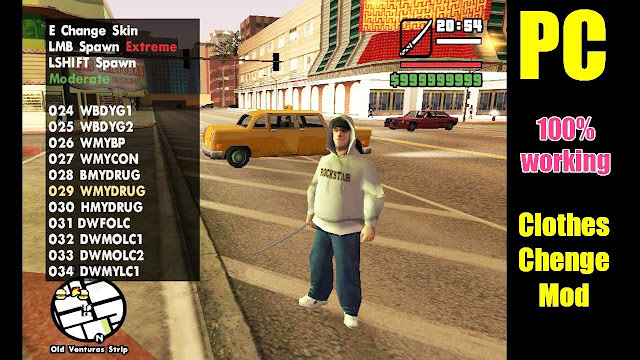 Free Download GTA San Andreas Change Clothes Cheat Mod for PC