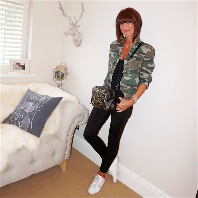 My Midlife fashion, j crew camouflage utility shirt jacket, j crew toothpick skinny jeans, golden goose superstar low top leather trainers, zara lace trim camisole, village england penshaw bag