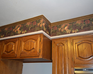 Kitchen Soffits with Ugly Wallpaper