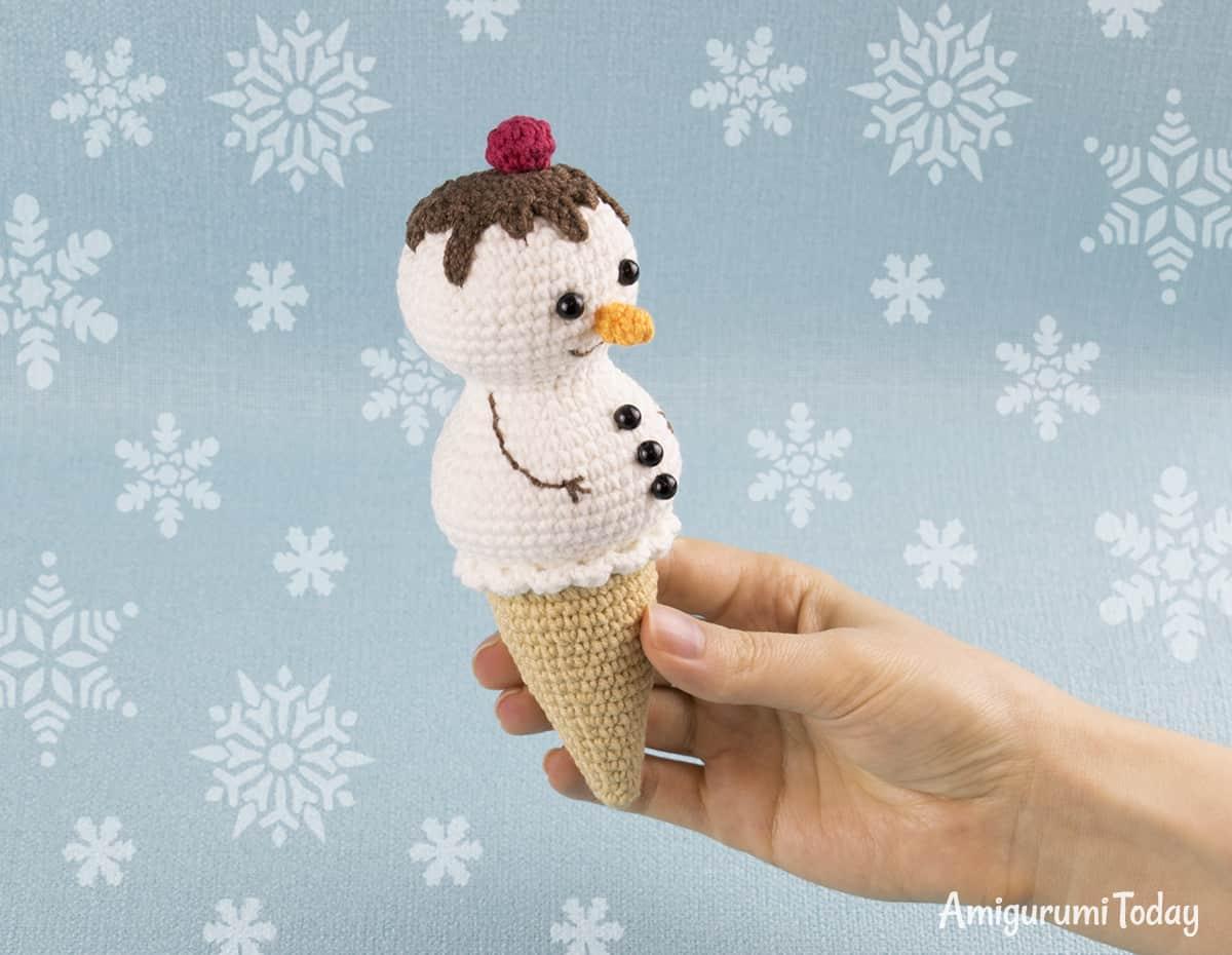 Icecream Snowman Crochetpattern Sneeuwpop Ijsje Haakpatroon Bees