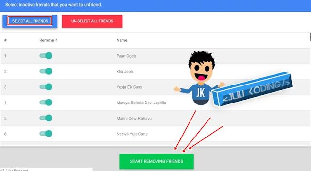 silahkan klik SELECT ALL FRIEND untuk menyeleksi semua dan klik tombol  Start Removing Friend.