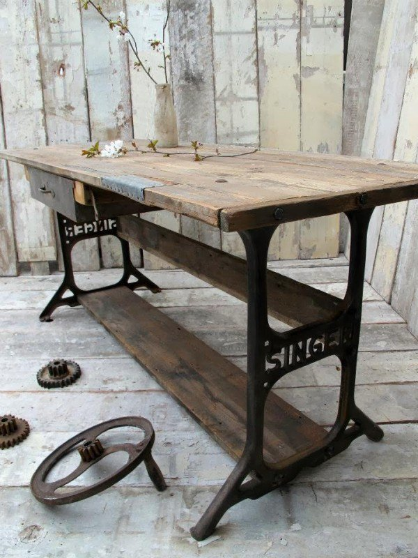 MOHSIN SAJID Vintage Industrial Sewing Machine Table Set Up Adorable How To Set Up A Sewing Machine Table