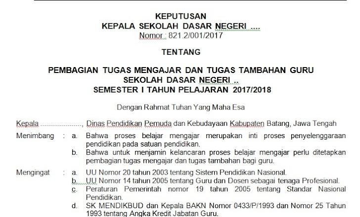 Contoh SK Pembagian Tugas Mengajar Guru Tahun Pelajaran 2017/2018