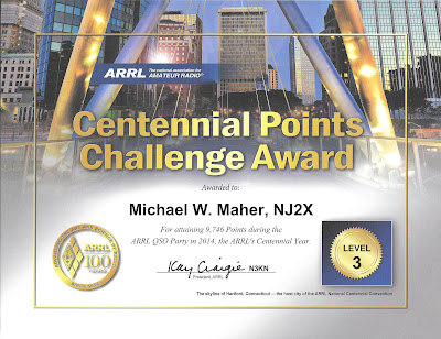 NJ2X's ARRL Centennial Points Challenge Award Certificate