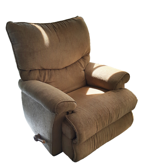 A much loved, well-used man's recliner with beige fabric and a broken wooden handle.