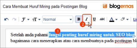 Cara Membuat Huruf Miring pada Postingan Blog