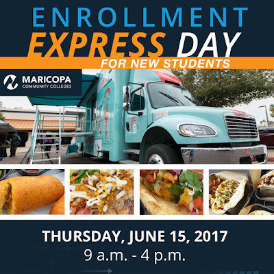 Poster for Enrollment Express Day with Images from Sounbite food truck.  Text: Thursday, June 15, 2017 9 a.m,.  - 4 p.m.