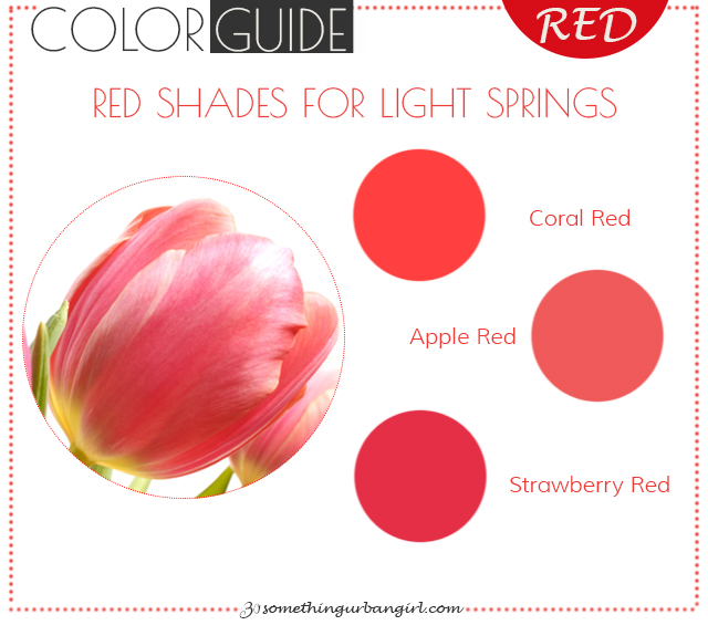 The best red color shades for Light Spring seasonal color women