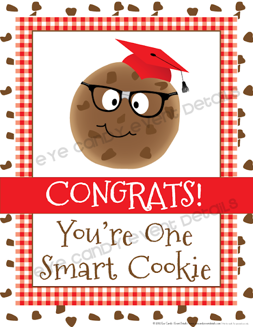 framed art print, grad party sign, congrats, you're one smart cookie