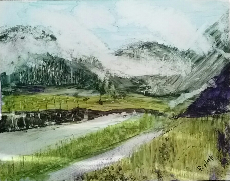 Pradeep Gautam Creations 6 Blanket Of Snow On Hills And River Realistic Painting Nepal Watercolor On Paper