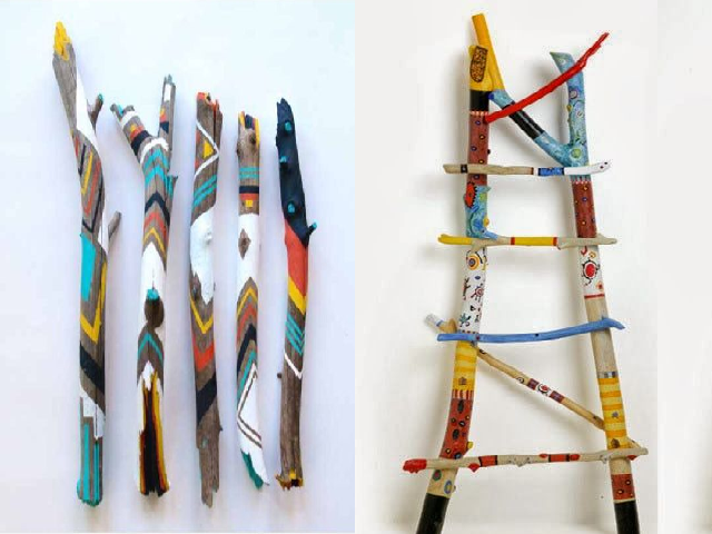 Painted, DIY twig crafts