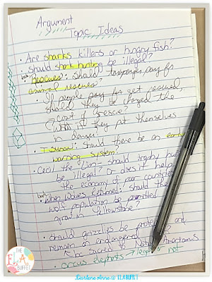 Argument writing quick-writes provide a clever way for kids to get ideas about topics to explore during writer's workshop. Read more about it in this blogpost. #writersworkshop #argumentwriting #argumentativewriting #middleschoolwriting #middleschoolwritersworkshop #middleschoolargumentwriting #writing #middleschoolwriting