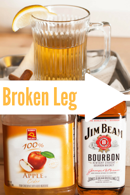 Enjoy this broken leg cocktail on National Bourbon Day!  It's blend of bourbon, apple cider, lemon and a cinnamon stick adds to its perfection!