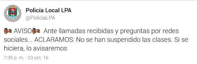 No se suspenden clases en Canarias  24 octubre por el tiempo