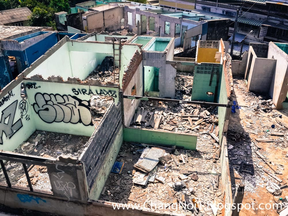 Demolishing of houses in Bangkok, Thailand