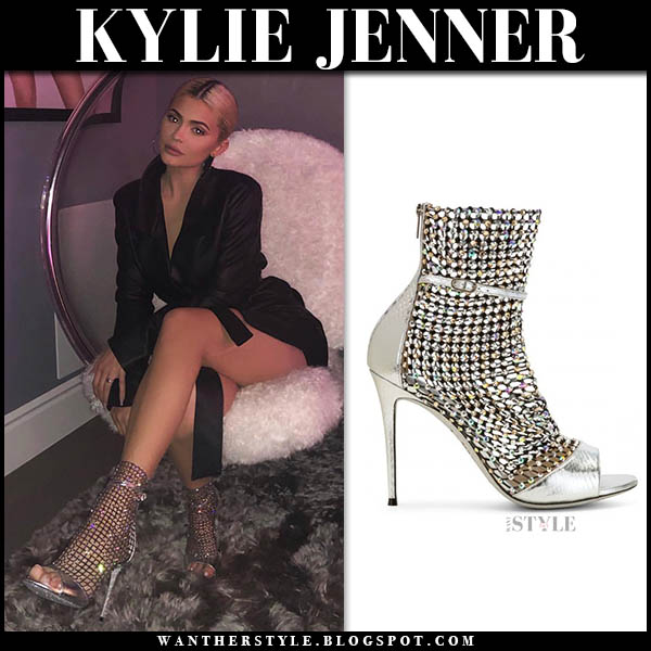 Kylie Jenner in silver crystal sparkly mesh sock sandals rene caovilla party outfit december 28