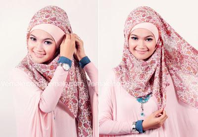 Model Jilbab Segi Empat Simple Untuk Pesta Terbaru