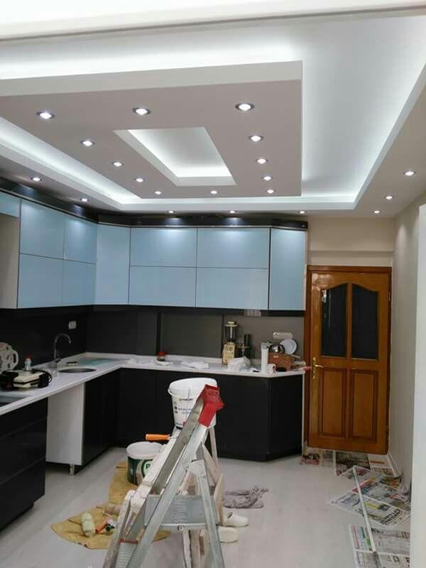 Modern Pop False Ceiling Designs For Kitchen Interior With Lighting Design