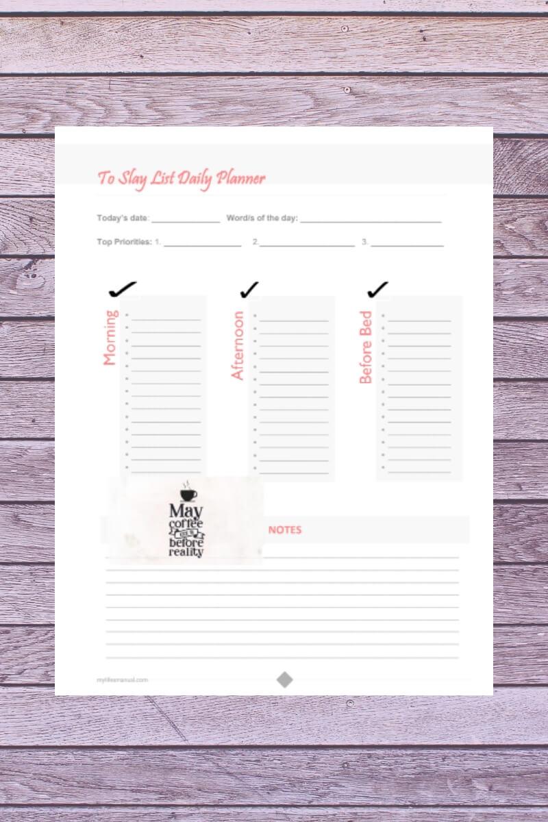 To Slay List Planner Printable