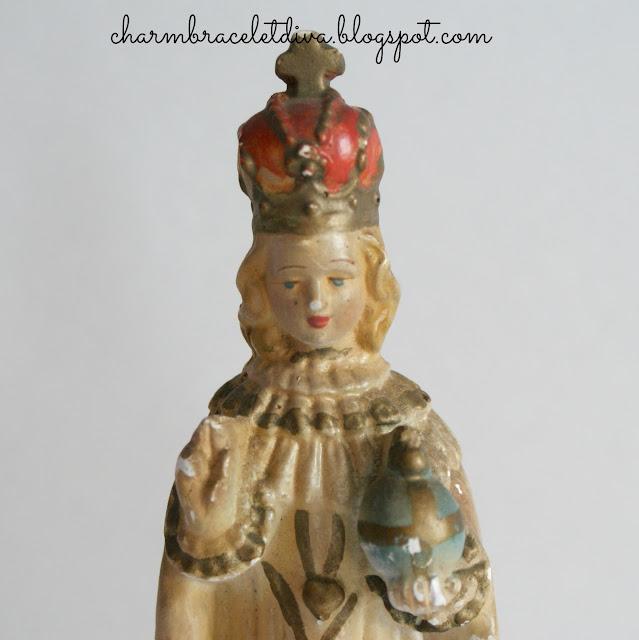 chippy Vintage Infant of Prague chalk statue