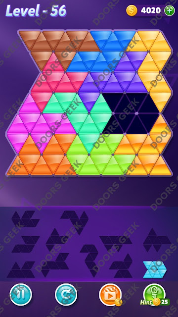 Block! Triangle Puzzle Challenger Level 56 Solution, Cheats, Walkthrough for Android, iPhone, iPad and iPod