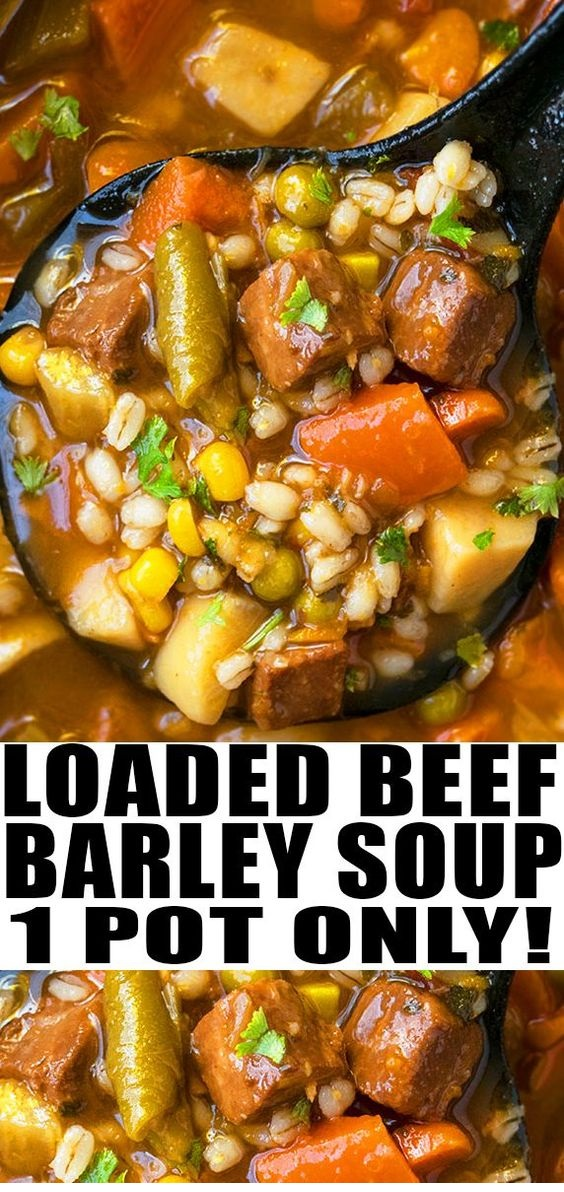 One Pot Beef Barley Soup