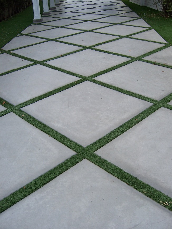 The 2 Minute Gardener: Photo - Concrete Pathway Accented ... on Square Concrete Patio Ideas id=91648