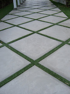 Turf Pavers Concrete Pathway Square Slabs Grass Driveway Gardening House Home Decor Interior Exterior Landscape Design