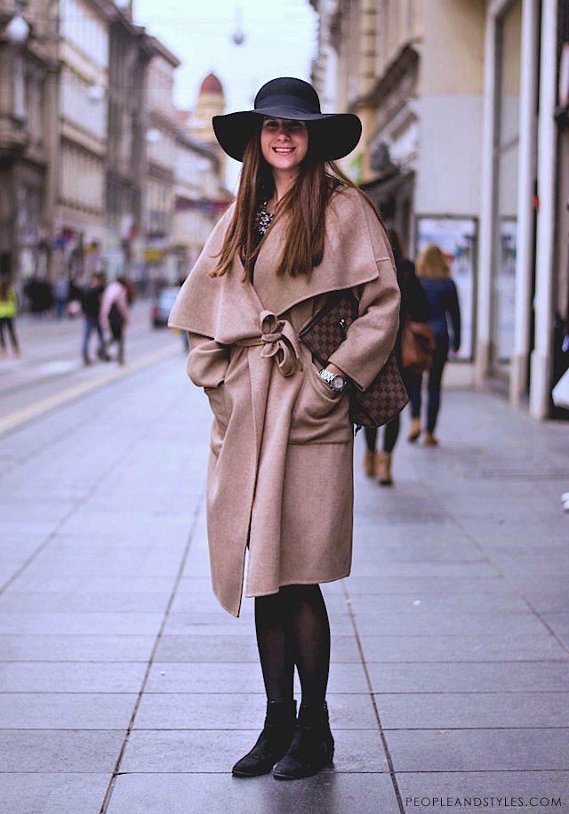 How to style robe camel coat and floppy hat, street style fall fashion, Zara coat, photo by PEOPLEANDSTYLES.COM
