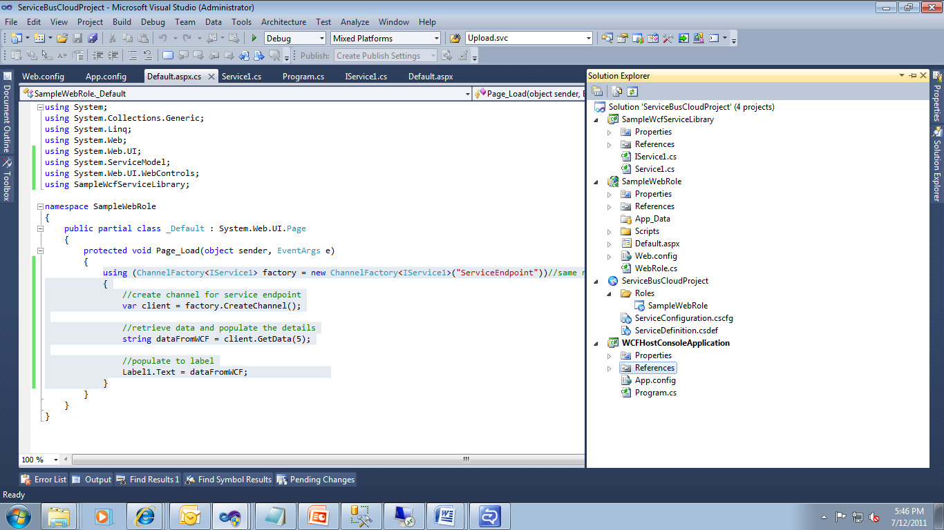 Sanganak Authority Windows Azure Service Bus Configuration And Accessing On Premise Wcf Service Using Service Bus In A Web Role Application