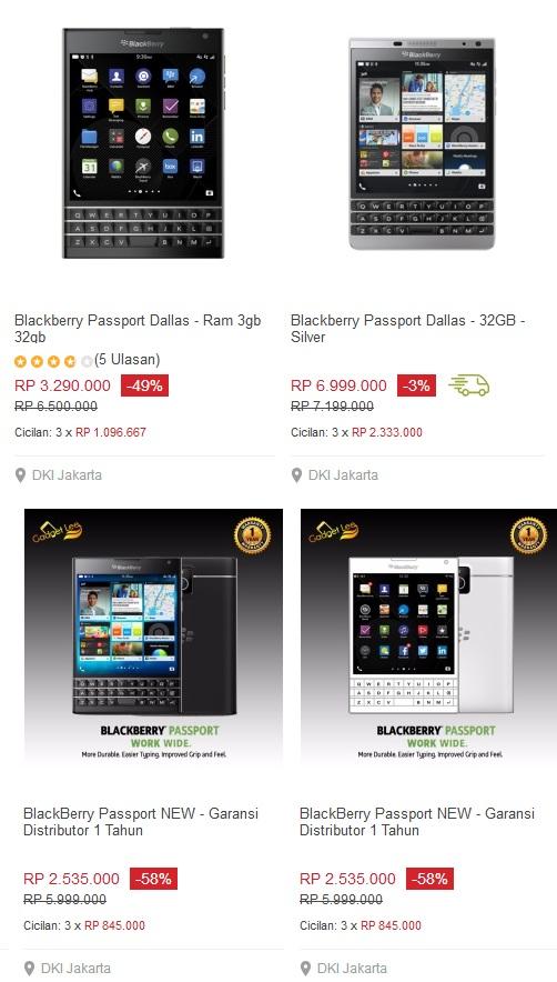 harga Handphone Blackberry pasport