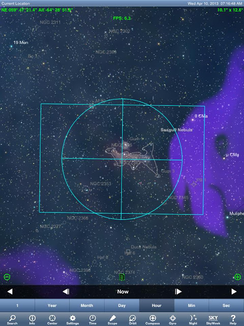 SkySafari plus:/ 圖中圓圈是尋星鏡視野,方框即是模擬200mm視野。