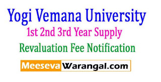 YVU UG 1st 2nd 3rd Year Supply Revaluation Fee Notification 2017