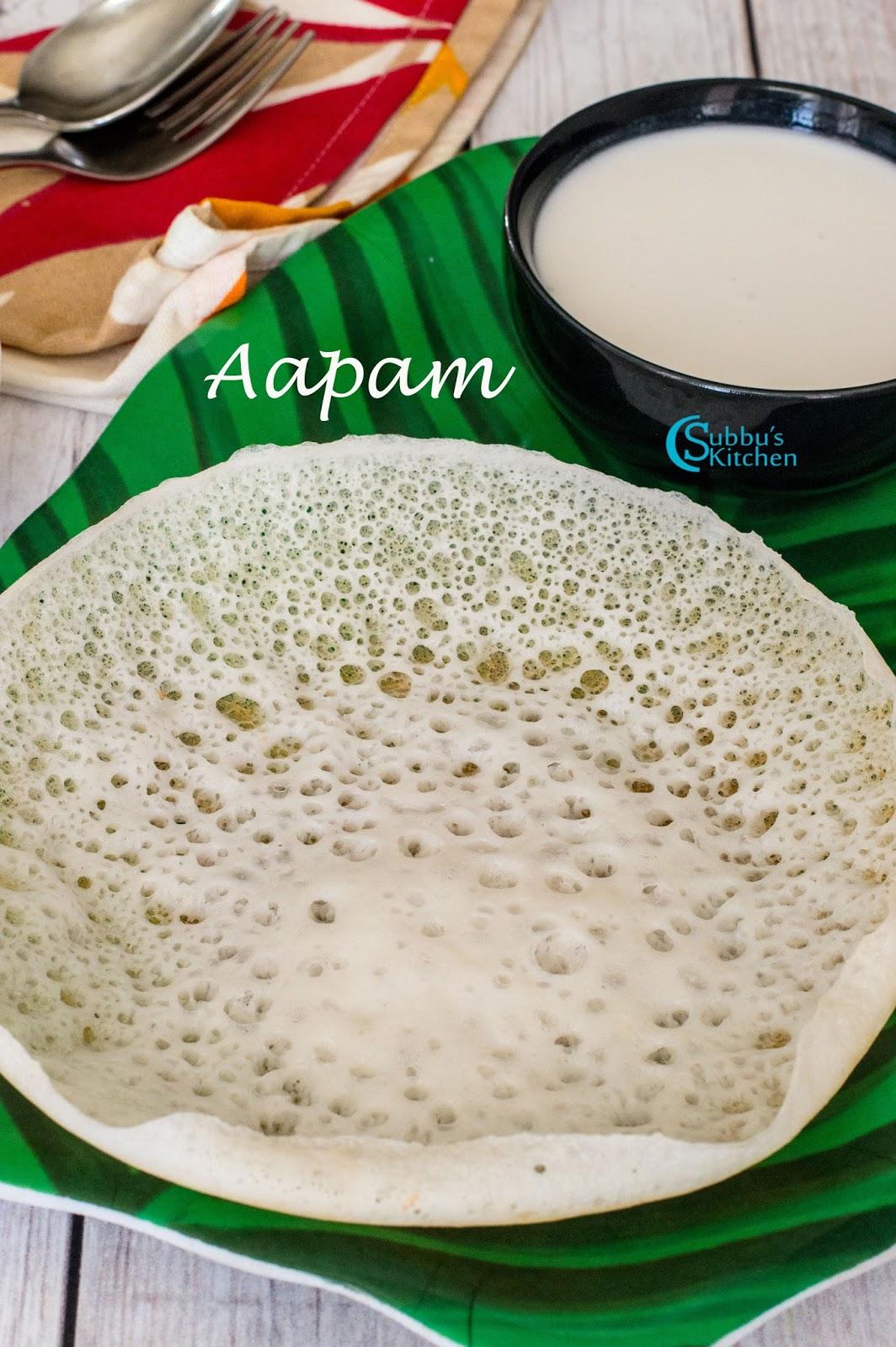 Aapam   Appam Recipe   Appam with Kadala Curry and Coconut Milk ...
