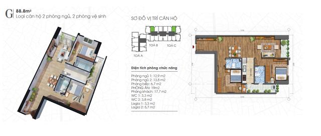 thiết kế căn hộ ecolife tây hồ 88,8m