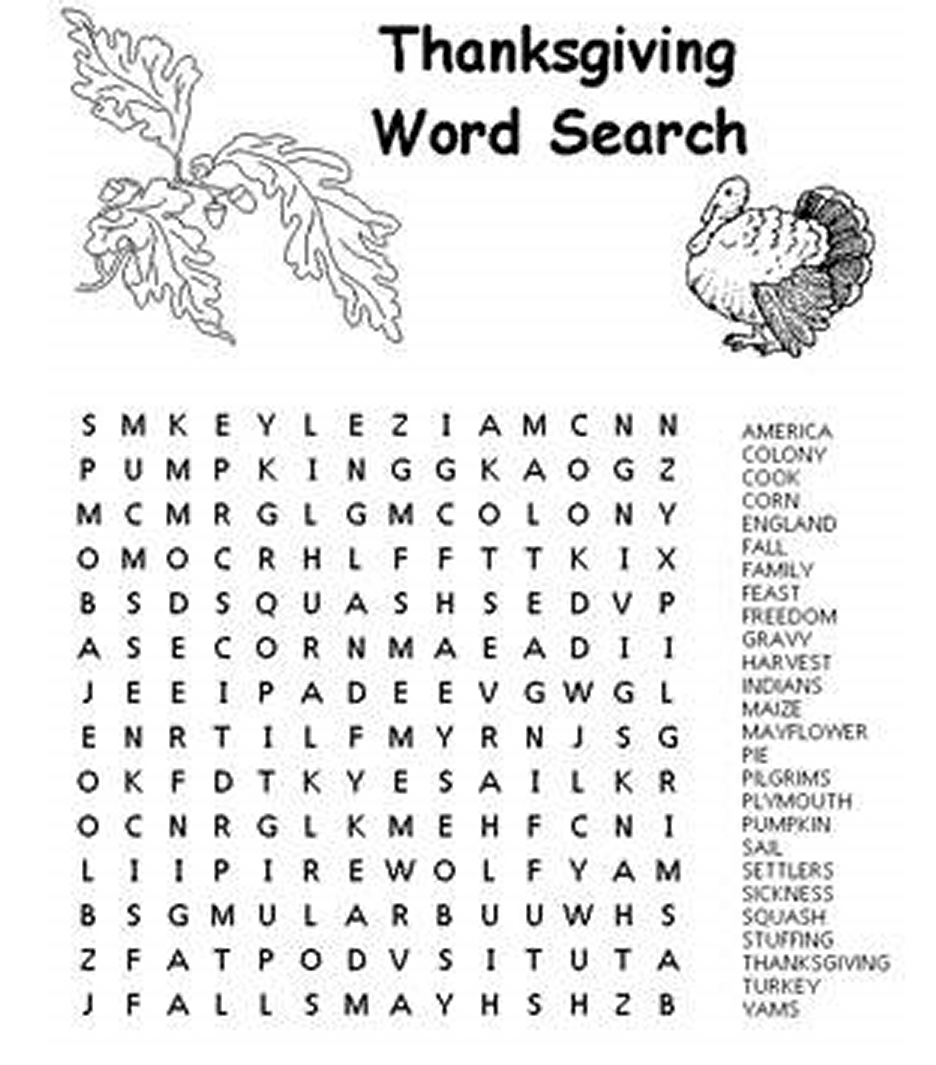 Thanksgiving Word Search Game For Kids