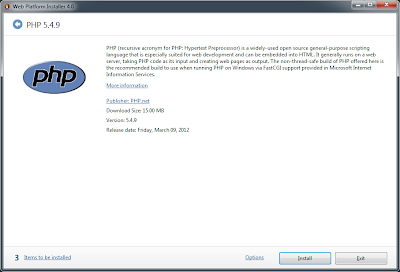 PHP 5.4 on IIS 7.5 Microsoft Web Platform Installer 4.0 Screen 1