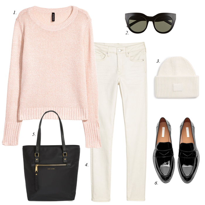 winter white jeans pink sweater