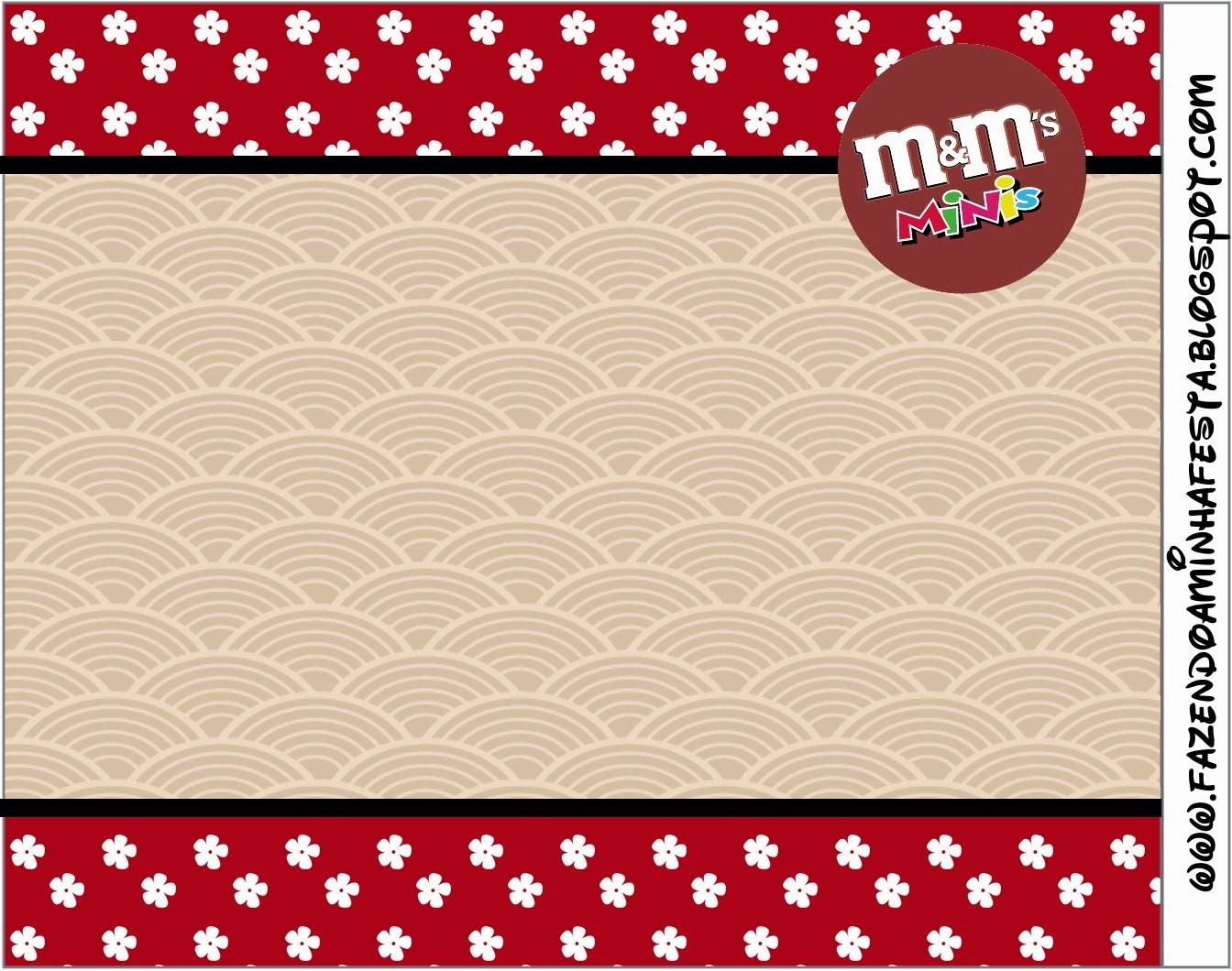 Etiquetas M&M  para Imprimir Gratis de Fiesta Estilo Japonés.