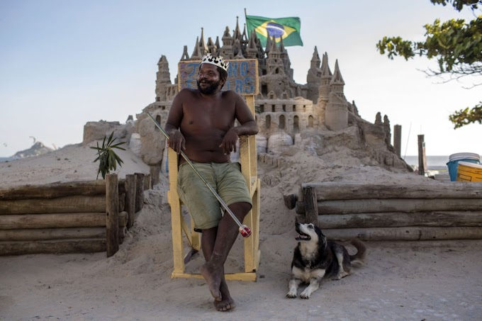 Meet 'King Marcio': he's lived in a sand castle on the beach for over 20 years